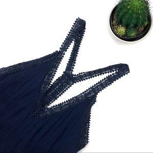 ASTR Navy Blue Crochet Mini Sun Dress
